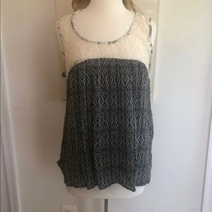 Nordstrom Bobeau Black and Cream lace accent tank